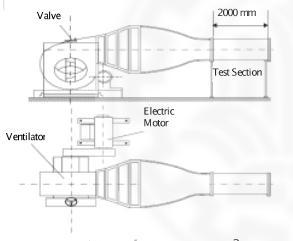 شماتیک تونل باد و اتاق آزمایش دانشگاه صنعتی شاهرود