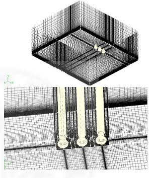 شبکه بکار گرفته شده برای شبیه سازس جریان در داخل  و خارج سه برج خنک کن همراستا